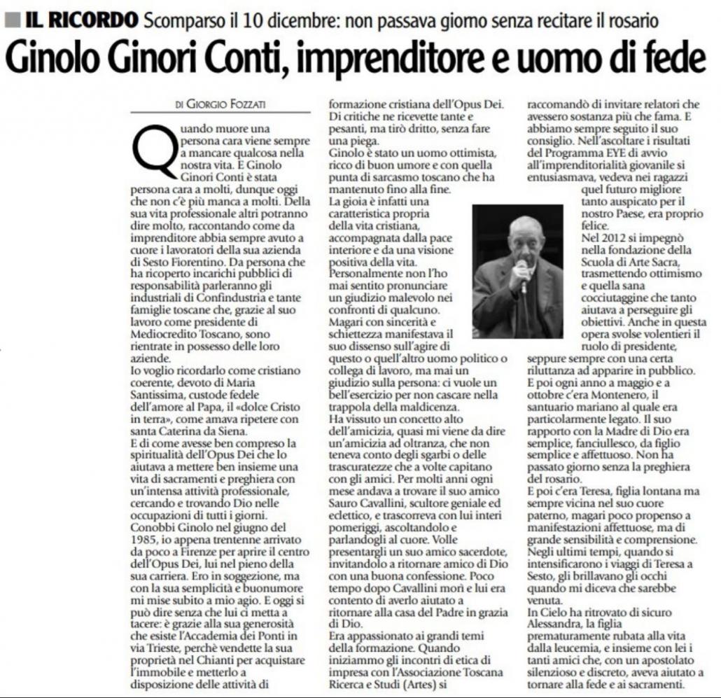 Ricordo di Ginolo Ginori Conti Scuola di arte sacra sacred art school firenze